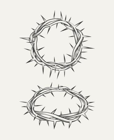 cristianismo: Corona de espinas. Corona cristianismo, elemento santa espina, corona de Cristo. ilustración vectorial Vectores