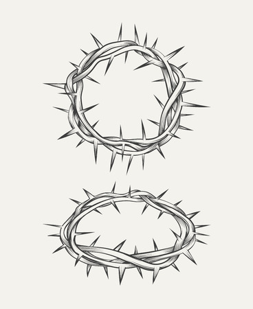 crown: Crown of thorns. Crown christianity, element holy thorn, christ crown. Vector illustration