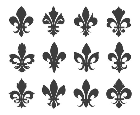 Fleur de lis vector icons. Decoration icon emblem, french symbol medieval, heraldic classic fleur de lis illustration Illustration