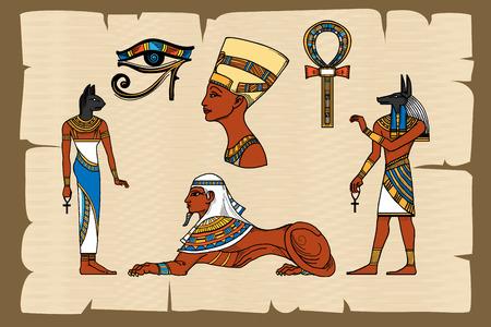 Ancient Egypt symbolen op papyrus. Papyrus egyptische, oude geschiedenis, vector illustratie Vector Illustratie