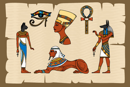 Ancient Egypt symbols on papyrus. Papyrus egyptian, ancient history, vector illustration Illustration
