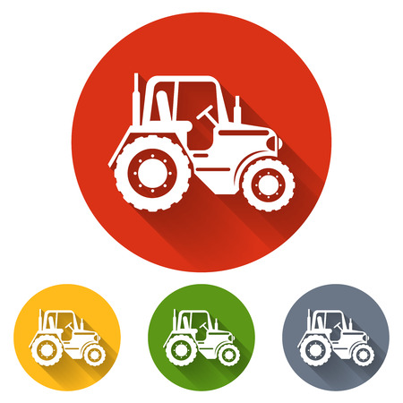 agriculture machinery: Flat tractor icon. Tractor transport, vehicle tractor, agriculture machinery tractor, farming tractor illustration Illustration