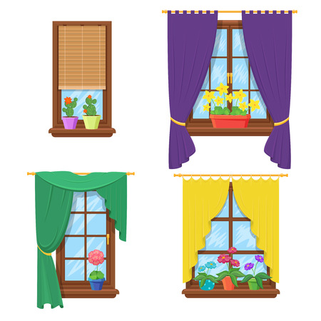cartoon window: Windows with curtains and flowers. Window with flower, curtain house, glass construction. Vector illustration set