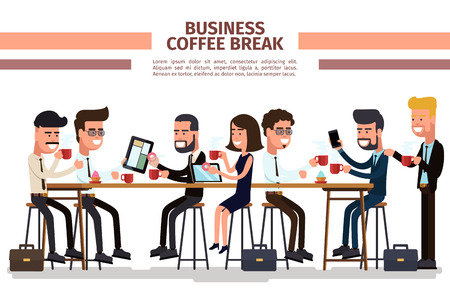 Business coffee break. Coffee break business, people with cup, businessman colleague, vector illustration