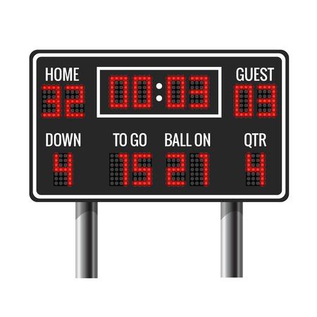 American-Football-Vektor-Anzeigers. Sport Fußball, anzeiger amerikanische Spiel, anzeiger Zeit, Gäste und Heim Anzeigers Illustration
