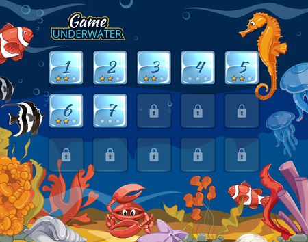 bottom of sea: Submarine computer game with user interface. Sea and ocean interface, underwater interface, level interface aquarium bottom. Vector illustration Illustration