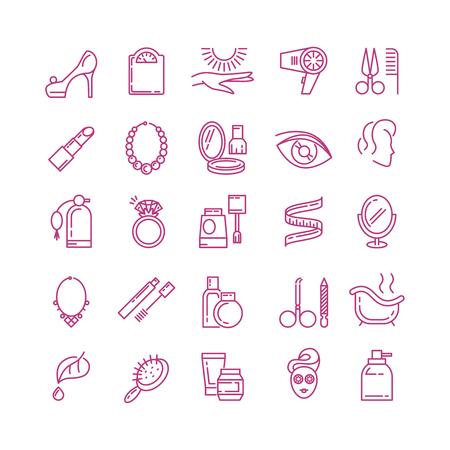 Vector icone di linea cosmetici. Profumo cosmetico, rossetto cosmetico, illustrazione icona estetica di polvere profilo