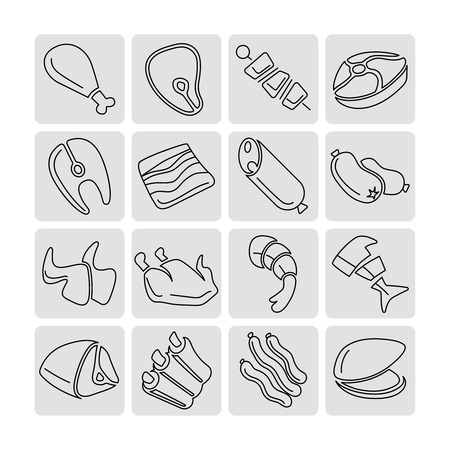meat food: Meat outline linear icons vector set. Meat food, fish food, meat and fish food icon illustration