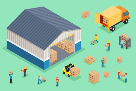 carga: isométrica de entrega y logística. camión de reparto, carga de entrega cuadro, transporte logístico negocios, ilustración vectorial Vectores