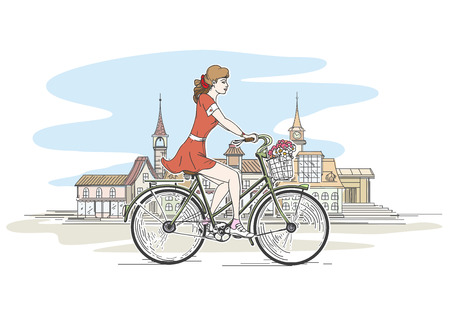 pretty young girl: Girl on bicycle. Girl bike, young pretty woman, girl with flower, vector illustration Illustration