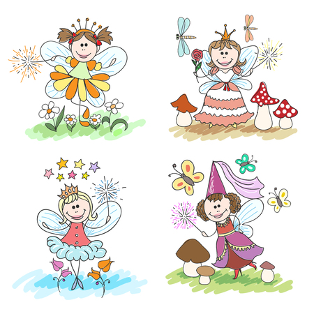 fairy vector: Little fairy children drawings set. Girl dress cartoon, wing fantasy, magic, princess with crown, vector illustration