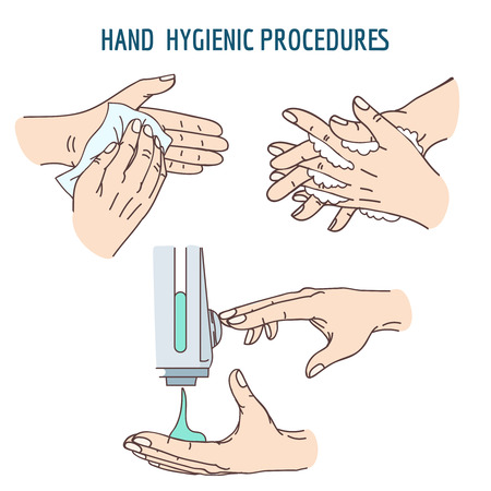 Handen wassen, ontsmettingsmiddel ontsmettingsmiddel, handen reinigen met behulp van antibacteriële doekjes. Hygiënische sanitaire, schone hand, washand, desinfecteren hygiënische menselijke hand. vector illustratie