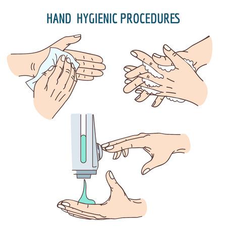 Mycie rąk, dezynfekcji dezynfekującym, mycia rąk przy użyciu chusteczki antybakteryjne. Higiena sanitarna, czyste strony, pranie ręczne, dezynfekcji higienicznej ludzką rękę. ilustracji wektorowych