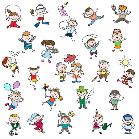 Childrens drawings of doodle people. Children girl and boy cartoon, drawing childhood, play football, fishing and diving, vector illustration Illustration