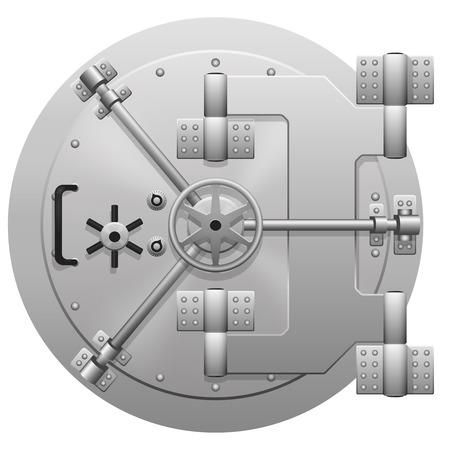 white door: Vector metallic bank vault door isolated on white background. Locked safe door, valve steel, reliability control secret illustration