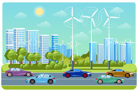 infrastructure: City life and urban landscape. Electricity automobile, windmill city, life environment, car eco, electric traffic infrastructure,vector illustration