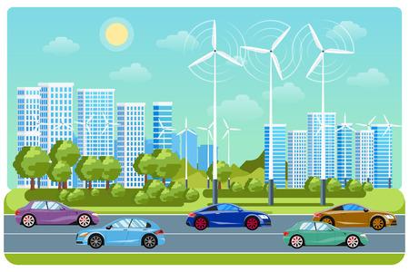 infraestructura: vida de la ciudad y el paisaje urbano. automóvil Electricidad, molino de viento, medio ambiente vida, coche ecológico, vías de tráfico eléctrica, ilustración vectorial
