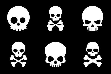 calavera caricatura: iconos cr�neo y bandera pirata en el estilo de dibujos animados. �sea y el cr�neo, esqueleto de la muerte, crossbone humano, Halloween o pirata, ilustraci�n vectorial