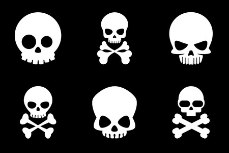 Skull and crossbones icons in cartoon style. Bone and skull, skeleton death, crossbone human, halloween or pirate, vector illustration