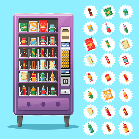 machine: Vending machine with snacks and drinks. Machine automatic, public vending, snack drink, purchase food. Vector illustration Illustration