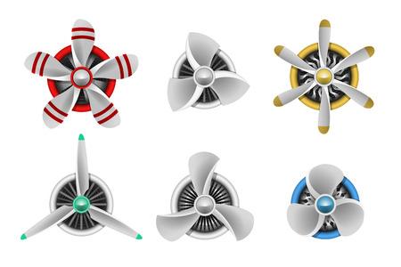 planos electricos: Iconos de turbinas. Las turbinas de hélice aeronaves. turbina de aviones, aspa del ventilador, ventilador viento, generador de turbina de equipos, ilustración vectorial