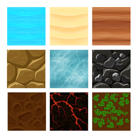 grounds: Game ground textures vector. Sea and ground, sand and lava texture game, interface gaming texture illustration
