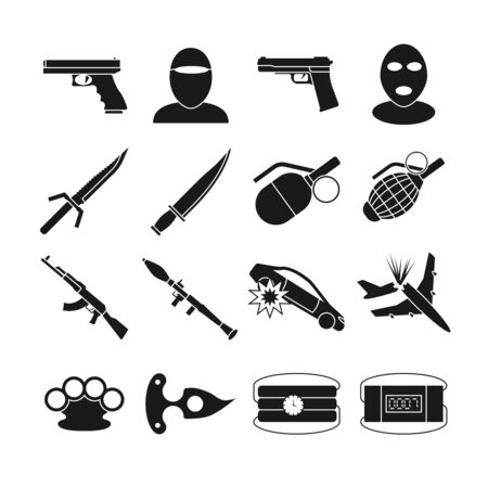 threat of violence: Terrorism vector icons. Terrorism bomb explosion, violence terrorism, weapon attack terrorism illustration