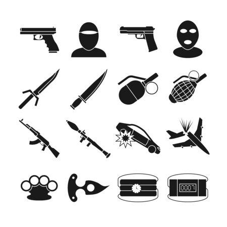 Terrorisme vector iconen. Terrorisme bomexplosie, geweld terrorisme, wapen aanval terrorisme illustratie Vector Illustratie