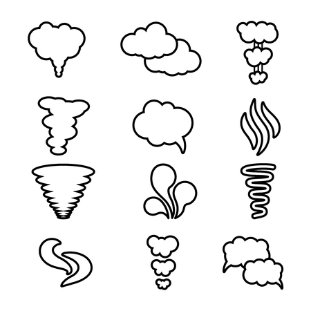 air flow: Steam, cloud and smoke vector icons set. Cloud abstract shape, flow smoke cloud, outline contour cloud air illustration