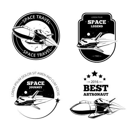 Vintage astronaut vector labels, badges and emblems set. Rocket label, vintage label badge, flight rocket, launch rocket shuttle, ship travel label illustration Illustration