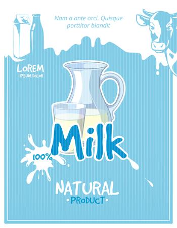 fresh milk: Vintage milk vector poster. Milk poster, fresh milk, healthy milk illustration