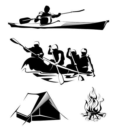 chaloupe: éléments vectoriels pour camping en plein air et rafting étiquettes, logos, emblèmes. rafting en plein air sport, rafting d'été ou le camping, aventure rafting, rafting Voyage, l'activité rafting illustration Illustration