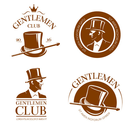 aristocrat: Retro gentlemen club emblems, labels, badges. Gentleman fashion, logo gentleman, aristocrat club gentleman, cylinder gentleman, label or emblem gentleman club. Vector illustration
