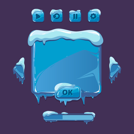 icicles: User vector interface for winter game. UI elements with icicles. game interface winter, winter user button, ice snow winter interface, gui winter illustration