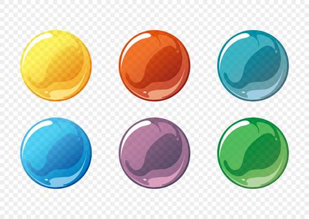 Conjunto de dibujos animados vector de la burbuja de jabón. círculo de burbujas de jabón, jabón de burbujas esfera, bola de la burbuja de jabón transparente, jabón de burbujas brillante. ilustración vectorial Ilustración de vector