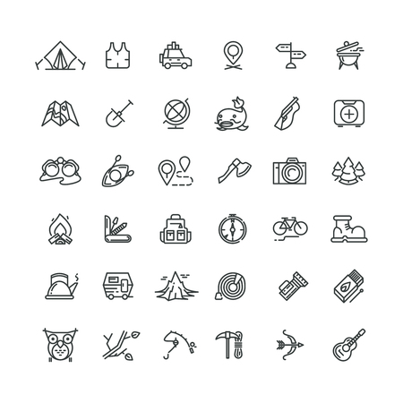Camping and outdoor vector line icons set. Outdoor camping, travel outdoor, tourism camping, equipment adventure camping outdoor, mountain camping outdoor icon illustration Illustration