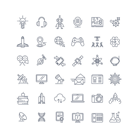 medical technology: Technologies and science vector line icons. Technology science sign, research technology science, medical technology science chemistry science illustration Illustration
