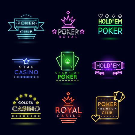 Neon light gambling emblems. Poker club and casino vector sign set. Emblem neon casino, gambling casino neon, casino light neon, game poker illustration Illustration