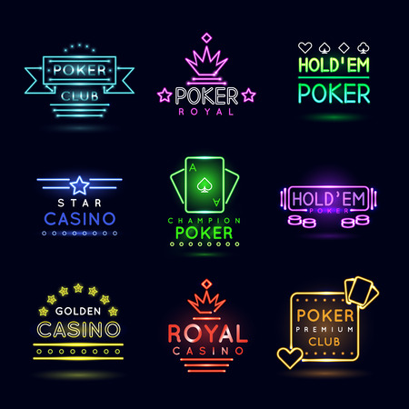 label design: Neon light gambling emblems. Poker club and casino vector sign set. Emblem neon casino, gambling casino neon, casino light neon, game poker illustration Illustration