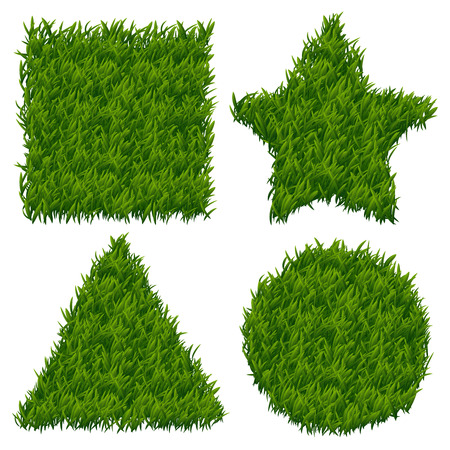 lawn grass: Green grass vector banners set. Grass design banner, nature grass pattern, shape grass form ilustration