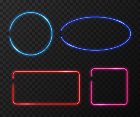 transparent background: Neon frames vector set on black transparent background. Frame light neon, bright neon, color decoration neon illumination illustration