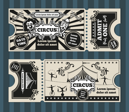 Birthday card with circus tickets vector template. Ticket invitation circus, invite birthday card, circus carnival ticket, coupon circus party ticket illustration
