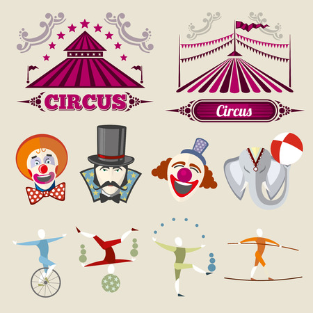 tightrope walker: Vintage hipster circus vector set in flat style. Circus vintage element, hipster citcus elephant and clown, circus hipster entertainment illustration