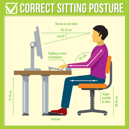 back screen: Correct sitting posture. Vector infographics. Posture correct, health correct sitting, body correct sitting infographic illustration
