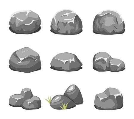 Piedras y rocas vector de dibujos animados. piedra de la historieta, la naturaleza de la roca, piedra natural de la ilustración
