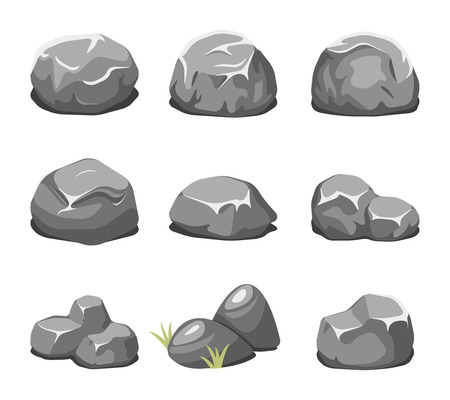 large group of objects: Stones and rocks cartoon vector. Cartoon stone, rock nature, boulder natural illustration