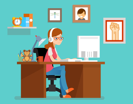 woman computer: Freelance woman working at home with computer. Vector illustration in flat style. Freelance home, freelancer designer or programmer, workspace freelance Illustration