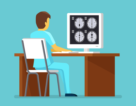 researches: Doctor researches results of MRI scan. Health and care vector concept. Brain scan, research brain mri professional illustration Illustration