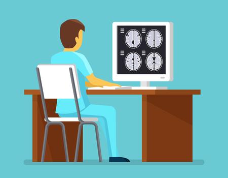 Médico investiga resultados de resonancia magnética. Concepto de salud y cuidado del vector. escáner cerebral, el cerebro MRI investigación ilustración profesional Ilustración de vector