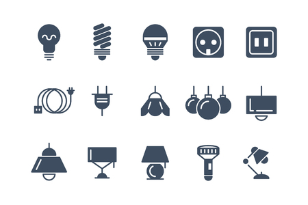 electrical symbols: Lamp and bulbs black vector icons set. Electrical symbols. Bulb energy, electric lamp icon, light bulb lamp, electricity power lamp bulb, electrical lamp illustration Illustration
